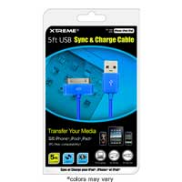 Xtreme Cables Sync and Charge Cable for iPod/iPhone/iPad 5 ft.