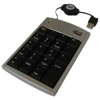 "Adesso 19 Key Numeric Keypad with 30"" Retractable Cord"