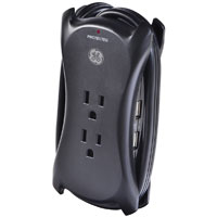 GE 3 Outlet Surge 1050 Joules w/ 2 USB (2.1A) Charging Ports & 1.5 ft. Cord - Black