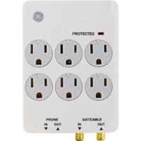 GE 6 Outlet Wall Surge Protector 1500 Joules with Phone/Fax/Coax Protection and Safety Locks - White