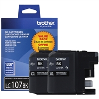 Brother LC107BK Super High Yield Black Inkjet Cartridge 2-Pack