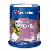 Verbatim Printable DVD+R 16x 4.7GB/120 Minute Disc 100 Pack Spindle