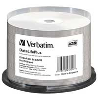 Verbatim Thermal Printable DVD+R DL 8x 8.5GB/240 Minute Disc 50 Pack Spindle