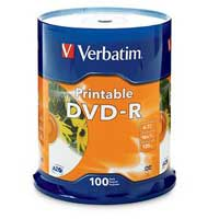 Verbatim Printable DVD-R 16x 4.7GB/120 Minute Disc 100 Pack Spindle