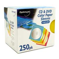 Optimum CD Paper Sleeves 250 Pack Assorted Colors