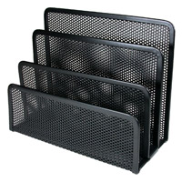 Artistic Metal Mesh 3-Section File Folder Stand Black