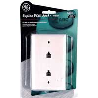 GE 2-Port Telephone Wall Jack White