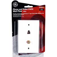 GE Phone and Coaxial Wall Plate White