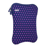 "Built NY Tablet Sleeve Fits LCD Screens up to 10"" Navy/Pink Mini Dot"