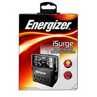 Energizer 3 Outlet Wall Surge Protector 612 Joules with 2 USB (2.1A) Charging Ports and LED Nightlight - Black