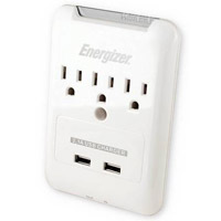 Energizer 3 Outlet Wall Surge Protector 540 Joules with Phone/Fax Protection and 2 USB (2.1A) Charging  - White