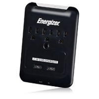 Energizer 3 Outlet Wall Surge Protector 540 Joules with Phone/Fax protection and 2 USB (2.1A) Charging Points - Black