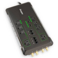 Energizer 8 Outlet Surge Protector 2160 Joules  with Phone/Fax/Coax/Network Protection, 2 USB (2.1A) Charging Ports and 6 Foot Cord - Black