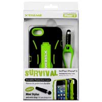 Xtreme Cables Green Survival Durable Protection Case for the iPhone 5 - Black/Green