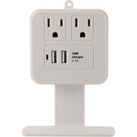 GE 2 Outlet Wall Surge Protector 245 Joules with 2 USB (2.1A) Charging Ports - White