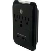 GE 3 Outlet Wall Surge Protector with 540 Joules and 2 USB 2.1A (Combined) Charging Ports - Black