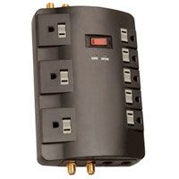 8 Outlet Entertainment Surge Protector 1800 Joules  with Coaxial/Phone/Fax/Modem Protection and 6 Foot Cord - Black