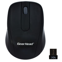 Gear Head 2.4 GHz Wireless Optical Nano Mouse - Black