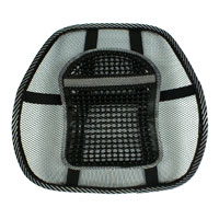 QVS Mesh Ergonomic Premium Lumbar Back Support with Large Massage Pad - Black with Gray Trim
