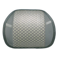 QVS Mesh Ergonomic Premium Lumbar Back Support with Woven Pad - Cream/Gray