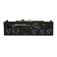 "NMedia PC 12-in-1 Internal 5.25"" Card Reader w/ USB 3.0 / eSATA / HD Audio Ports / Fan Controllers"