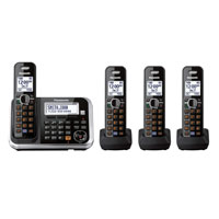 Panasonic KX-TG6844B DECT 6.0 Expandable Digital Cordless Answering System with 4 Handsets