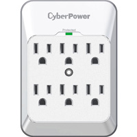 CyberPower Systems 6 Outlet 900 Joules Wall Tap Surge Protector - White