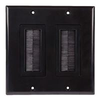 Just Hook It Up Decor Style Brush Bulk Cable Wall Plate Dual Gang - Black