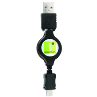 iEssentials USB 2.0 (Type-A) Male to Micro-USB (Type-B) Male Retractable Cable 3 ft. - Black