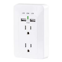 Cyberpower 2-Outlet Wall Plate with 2 USB Charging ports 2.1A (Shared) - White