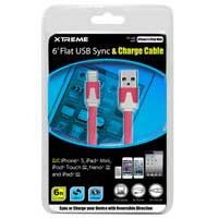 Xtreme Cables 6' Flat USB to 8-Pin Sync & Charge Cable Pink