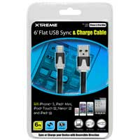 Xtreme Cables 6' Flat USB to 8-Pin Sync & Charge Cable Black