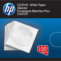 HP CD/DVD White Paper Sleeves 100-Pack