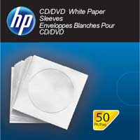 HP CD/DVD White Paper Sleeves 50-Pack