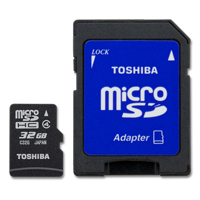 Toshiba 32GB microSDHC Class 4 Flash Memory Card with Adapter