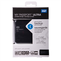 WD My Passport Ultra 500GB SuperSpeed USB 3.0 Portable External Hard Drive - Black