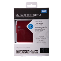 WD My Passport Ultra 1TB SuperSpeed USB 3.0 Portable External Hard Drive - Red