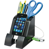 Victor Technology Smart Charge Pencil Cup with 4 Port USB 2.0 Hub