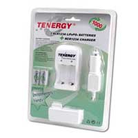 TenErgy 3 Hour RCR123A Battery Charger AC/DC Kit with 2 Rechargeable Batteries