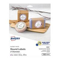 Avery Business Builders Round Easy Peel Labels - Glossy White