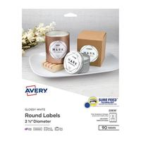 Avery 22830 Business Builders Print to the Edge Round Labels - Glossy White