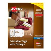 Avery 22802 Business Builders Printable Tags with Strings - White