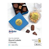 Avery Business Builders Embossed Gold Foil Round Labels 96-Pack