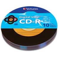 Verbatim Digital Vinyl CD-R 52x 700MB 80 Minute Disc 10-Pack