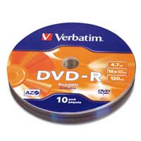 Verbatim DVD-R 16X 4.7GB/120 Minute Disc 10 Pack Wrap