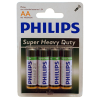 Philips Heavy Duty AA Zinc-Chloride Battery 4-Pack