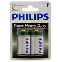 Philips Heavy Duty C Zinc-Chloride Battery 2-Pack