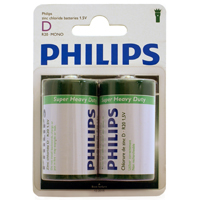 Philips Heavy Duty D Zinc-Chloride Battery 2-Pack
