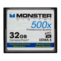 Monster Digital 32GB 500X CompactFlash Card High Speed Memory Card CFA-0032-605