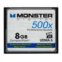 Monster Digital 8GB 500X CompactFlash High Speed Memory Card CFA-0008-605